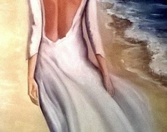 woman Beach oil painting on canvas