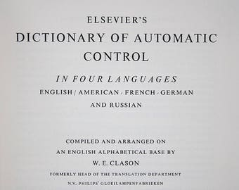 Elsevier's Dictionary of Automatic Control in Four Languages - Vintage Technology Book - Vintage Engineering Book - Technology Geek Gift