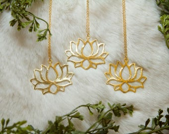 Rise Above necklace-Statement Lotus Flower Necklace. Yoga jewelry. Lotus Necklace