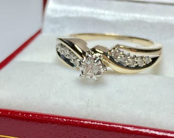 VINTAGE ENGAGEMENT RING l 10KT Yellow Gold Diamond Ring l Engagament Ring l Wedding Ring