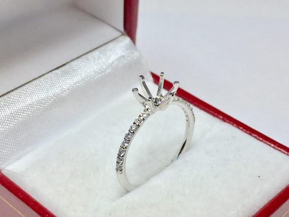 14KT White Gold Diamond Semi-Mounted Ring l Engagement Ring Setting l Design Your Own Ring