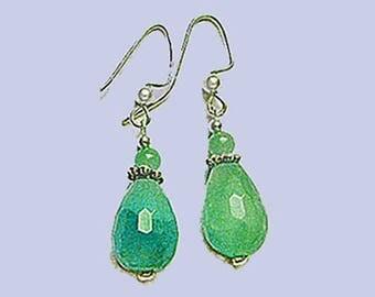 Green Agate & Chrysoprase Drop Earrings