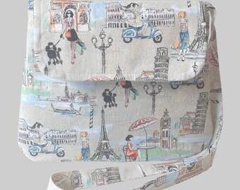 Cotton Medium Cross Body Bag/ Messenger Bag/ Paris Print.