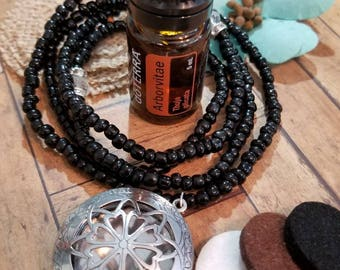Essential Oil Diffuser Necklace, Aromatherapy Beaded Necklace, Essential Oil Locket, Beaded Jewelry, Handmde Custom Beaded Jewelry