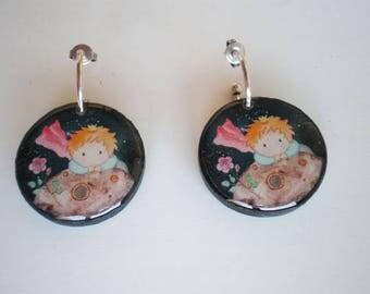 Resin earrings, Earrings artwork, Round earrings, gift for her, woman gift, gift idea