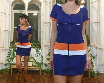 20% OFF FLASH SALE Vintage 1960's 1970's Scooter Deadstock Mini Mod Tennis Dress With Front Zipper || Blue Orange White || Size Xs to Small