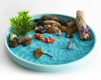 Mini Zen Garden // Ocean Sand Garden // Desk Accessory // DIY Kit // Driftwood Beach Tabletop Decor // Sand Art // Meditation // Fidget Toy
