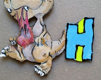 handmade dinosaur  magnet  letter for your fridge