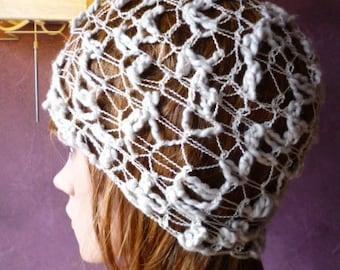 Original summer - ivory cream off white lace crochet Hat - Spider Web - spiderweb hat - crochet spiderweb design pattern
