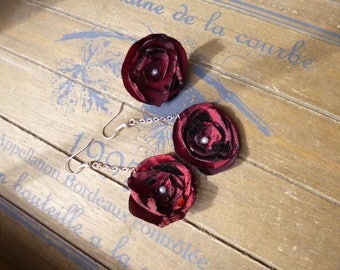 Set Adjustable ring + earrings romantic flowers - Burgundy, eggplant, plum fabric - ring and matching burgundy