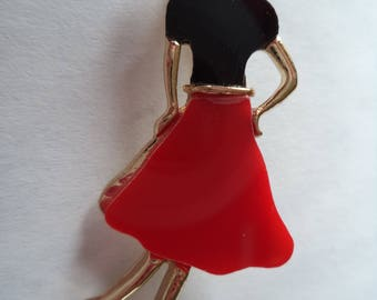 Vintage Unsigned Goldtone/Red/Black Back View of a Lady Brooch/Pin