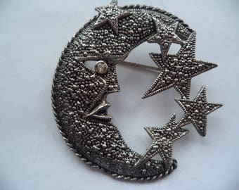 Fabulous Unsigned Faux Marcasite Moon and Stars Brooch/Pin