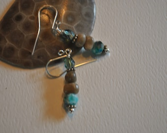 Petoskey stone nugget earrings with teal crystals and teal Czech glass beads, Lake Michigan, Up North jewelry
