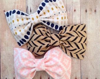 Herringbone khaki navy pink hair bow  babyheadband school uniform bow