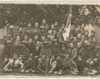 Boy scout group with flag Latvia antique rppc photo