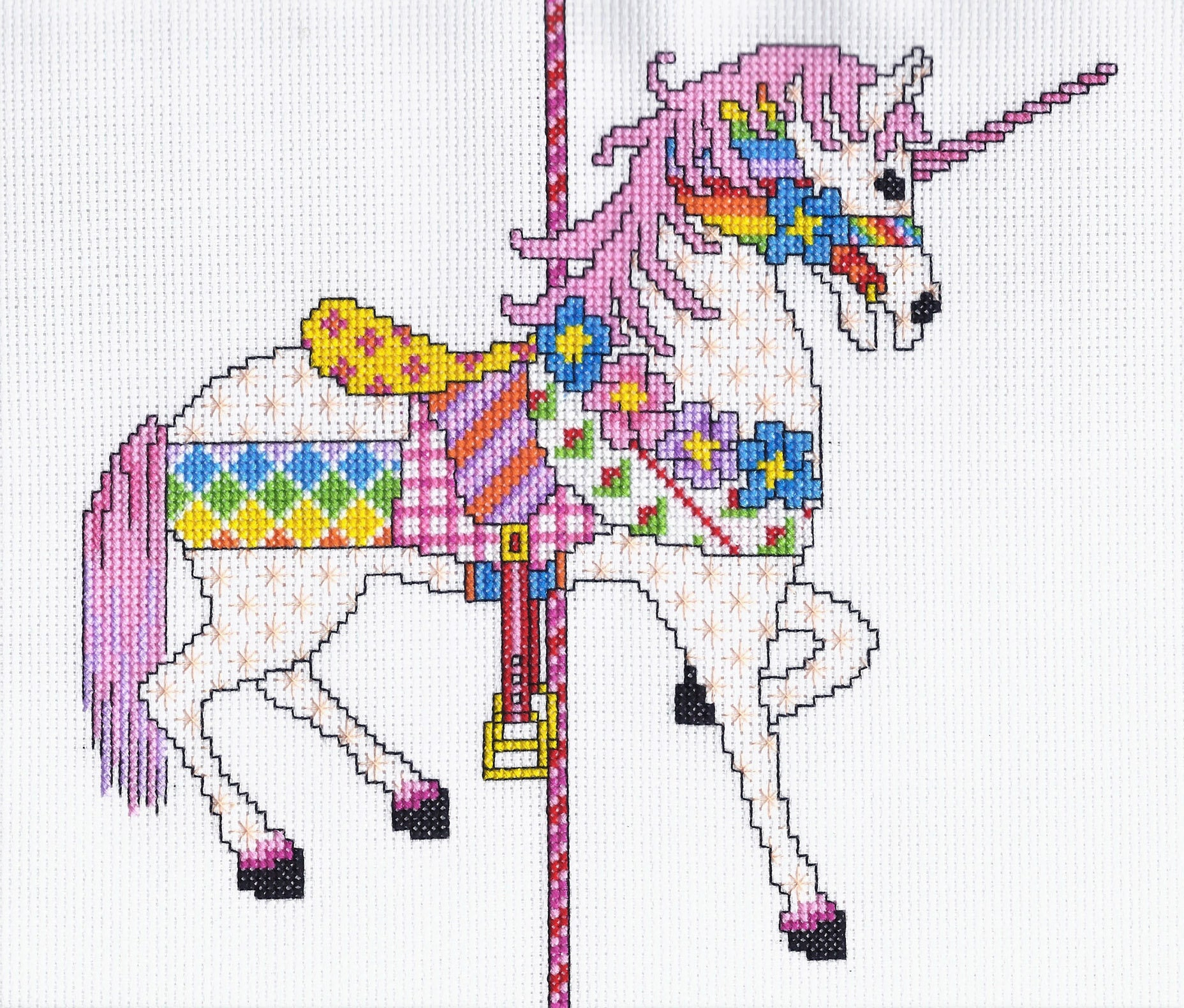 Patchwork Unicorn Cross Stitch PDF Pattern Instant Download