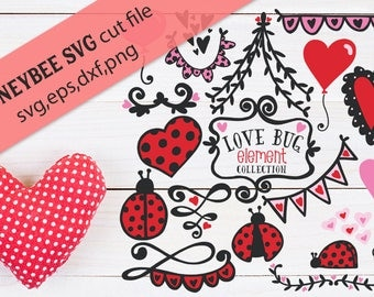 Love Bug Element Collection cut files with BONUS SVG word art for Silhouette and Cricut cutting machines