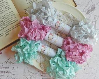 Seam Binding Ribbon / Crinkled Seam Binding / 15 Yards / Shabby Chic Ribbon / Gift Wrap / Turquoise, Aster, Silver / Gift Bag / Gifting