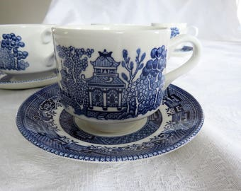 Four 4 Blue Willow cups saucers by Churchill made in England - set of four 4