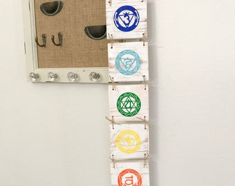 Chakra Wall Hanging, Yoga Decor, Yoga Studio Signs, Wooden Yoga Sign, Chakra Decor, Yoga, Buddist Decor, Wooden Buddha Signs, Yoga Wall Hang