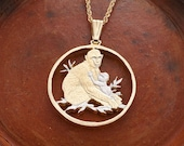"""Mother and Baby Monkey Pendant, Hand Cut African Wild Life Coin, African Wild Life Jewelry, 1 1/4"""" in Diameter, ( # 946 )"""