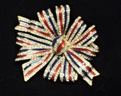 CINER for Joan Rivers Patriotic Red White and Blue Large Bow Brooch