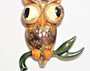 Designer Signed Original By Robert Enamel Owl Figural Bird Brooch