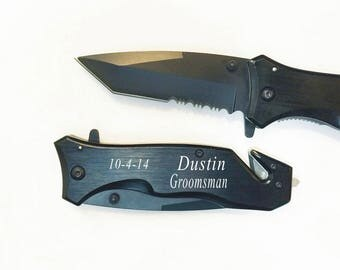 Holidays, Valentine's day gift- Personalized  Black Hunting Pocket Knife ,Engraved Knife, Custom knife with free engraving