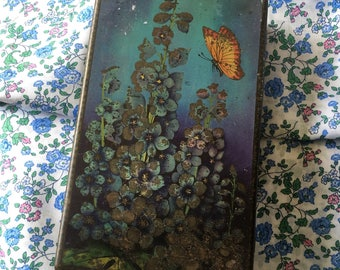 Butterfly and Flowers Vintage Biscuit Tin