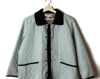 Vintage Pale Green x Black corduroy collared Quilted Jacket*