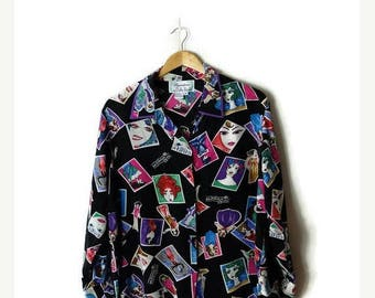 ON SALE Vintage Black  x Colorful Lady faces printed Pure Silk  Long sleeve  Blouse  from 1980's*