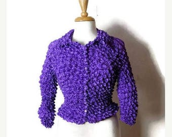 ON SALE Vintage Stretchy crinkly Popcorn Blouse from 90's/Purple*