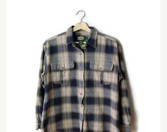 ON SALE Vintage Blue/Navy checked  Cotton Long sleeve Blouse from 90's*