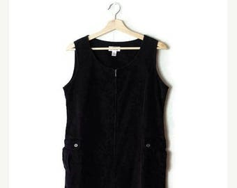ON SALE Vintage Black Corduroy Jumper/Dress from 1990's/Minimal/minimalist*