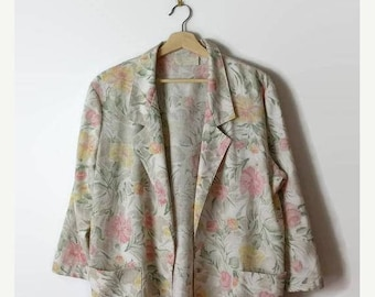 ON SALE Vintage Floral  Printed Slouchy Blazer Jacket from 1980's*