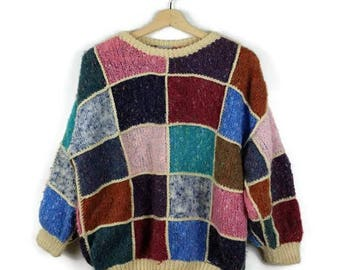Vintage Color Blocked Round neck Wool Sweater from 80's*