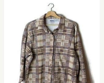 ON SALE Vintage Brown/White Plaid checked Long Sleeve  Blouse from 90's*