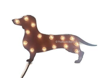 DACHSHUND DOXIE Dog MARQUEE lighted sign made of Rusted Recycled Metal Vintage Inspired