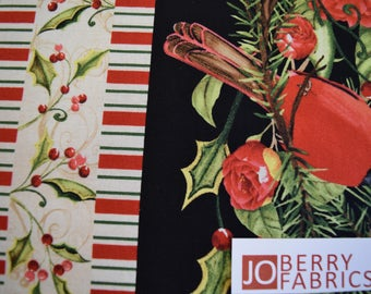 Cardinal Stripe from Christmas in the Wildwood Collection by Nancy Mink for Wilmington Prints.  Quilt or Craft Fabric, Fabric by the Yard.