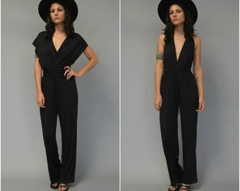 1990s black convertible infinity jumpsuit - size small
