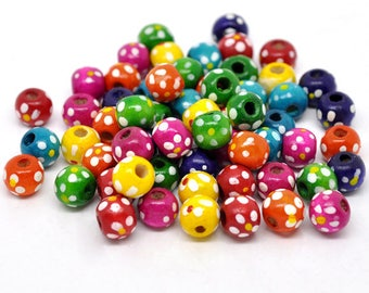 100pcs colorful, round wooden beads, spacers, beads with flowers