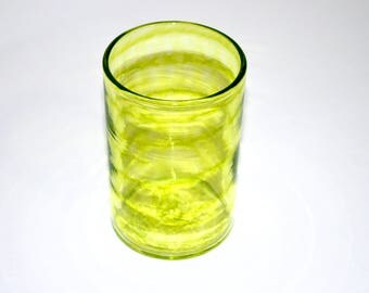 LIME GREEN SPIRAL Glass, Hand Blown Glass Tumbler, Blown Glassware, Blown Drinking Glasses, Hand Blown Glass Art, green drinking glasses