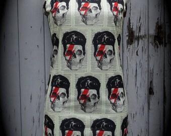 Bowie Skull Dress - Size 8 10 12 - Bodycon Wiggle Lightning Bolt David Alternative