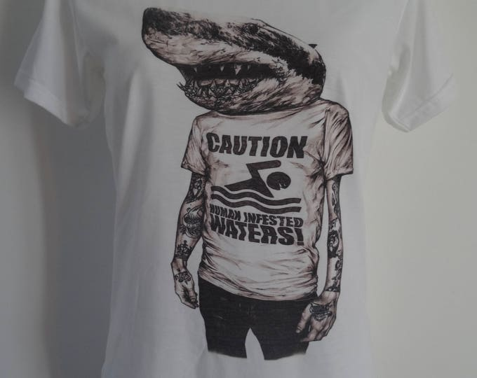 Women's Caution Human Infested Water Shark T-Shirt - UK 12 14 16 Nautical Navy