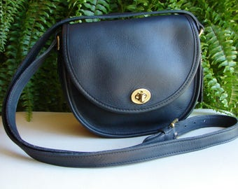Coach Vintage Navy Leather Watson Turnlock Crossbody Handbag ~ 9981
