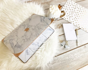 Marble Macbook Case Makrana White Marble Rose Gold - Apple Macbook Air / Macbook Pro Retina / Macbook Pro Touch - New College Edition