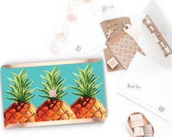 Pineapple Teal Aqua and Rose Gold Edge Hard Case for Apple Macbook Air , Macbook Pro Retina, New Macbook Pro Touch - Platinum Edition