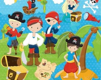 80% OFF SALE Pirate Boy clipart commercial use, vector graphics, digital clip art, digital images - CL647