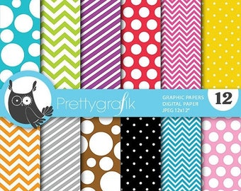 80% OFF SALE bright colors graphic digital paper, commercial use, scrapbook papers, background polka dots, chevron, stripes - PS667