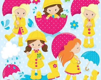 80% OFF SALE April showers clipart commercial use, rainy day vector graphics, april digital clip art, digital images - CL825